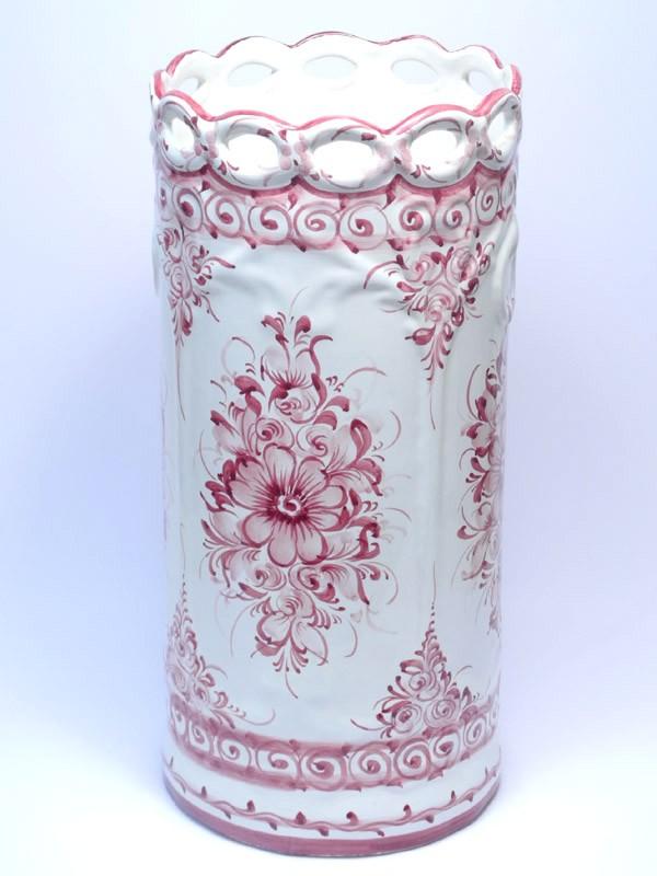 素敵なアイテム!《ポルトガル製》陶器 おしゃれな 傘立て ハンドペイント レース 花柄 ピンク