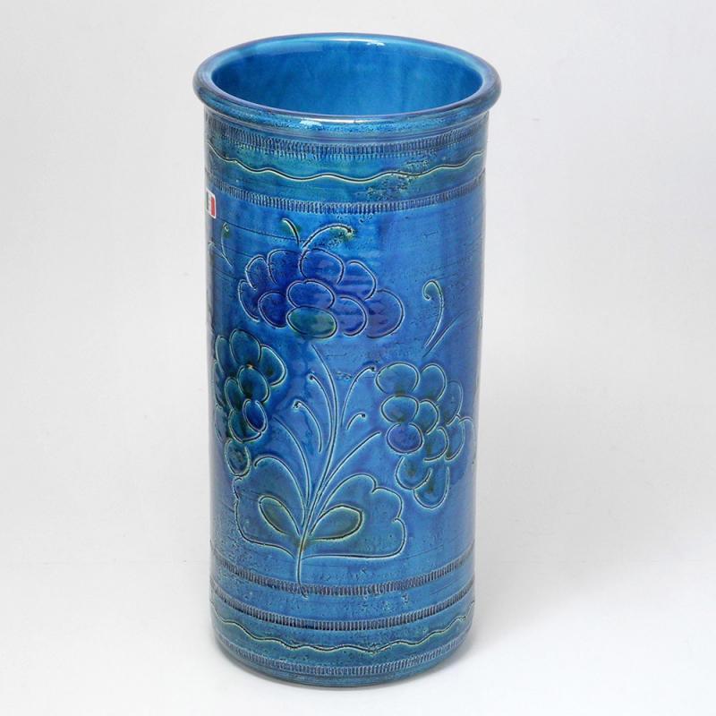 素敵なアイテム!《イタリア製》陶器製 アンブレラスタンド 傘立て フラワー ブルー レインラック