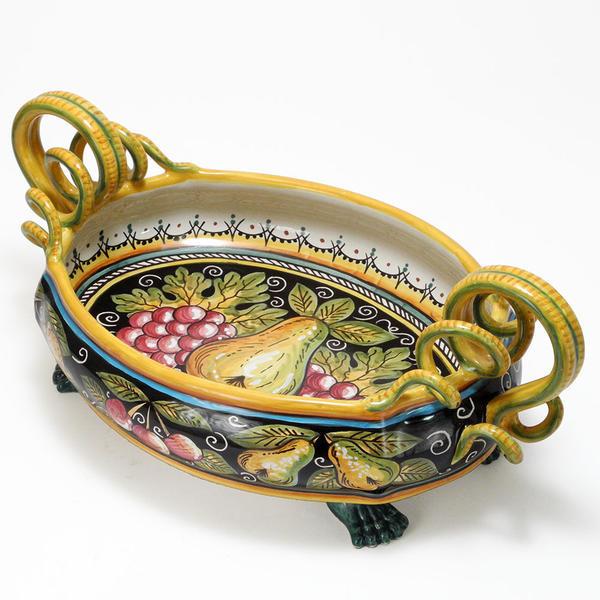 素敵なアイテム!最高級 イタリア陶器 デルータ焼き 陶器製 脚付き テーブルセンターピース