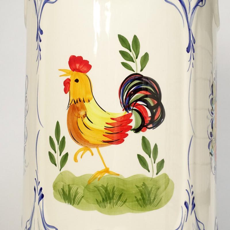 素敵なアイテム!《ポルトガル製》陶器 傘立て ハンドペイント レース 鳥柄 花柄 ブルー ホワイト アズレージョ柄