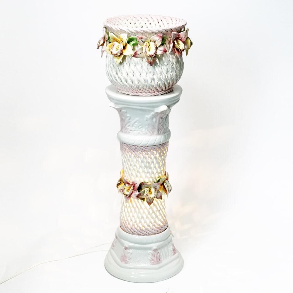素敵なアイテム!《イタリア製》 陶花 スパゲティ プランター 花台