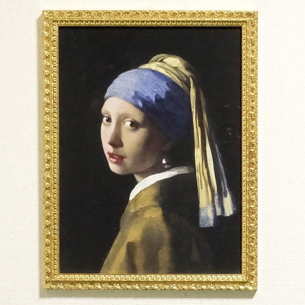 素敵なアイテム!《イタリア製》 アートフレーム フェルメール 真珠の耳飾りの少女 青いターバンの少女 額絵 壁掛