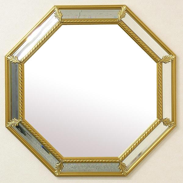 ITALY製 壁掛け ミラー ゴールド 八角 鏡 ミラーフレーム 開運 金運
