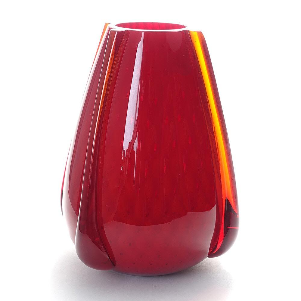 ITALY製 ベネチアングラス ガラス 花器 花瓶 フラワーベース 壺型 オブジェ 赤