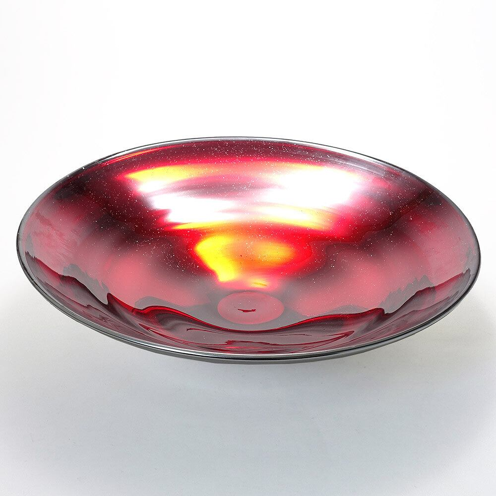 ITALY製 ベネチアングラス ガラス 花器 花瓶 水盤 大鉢 オブジェ シルバーラメ 赤