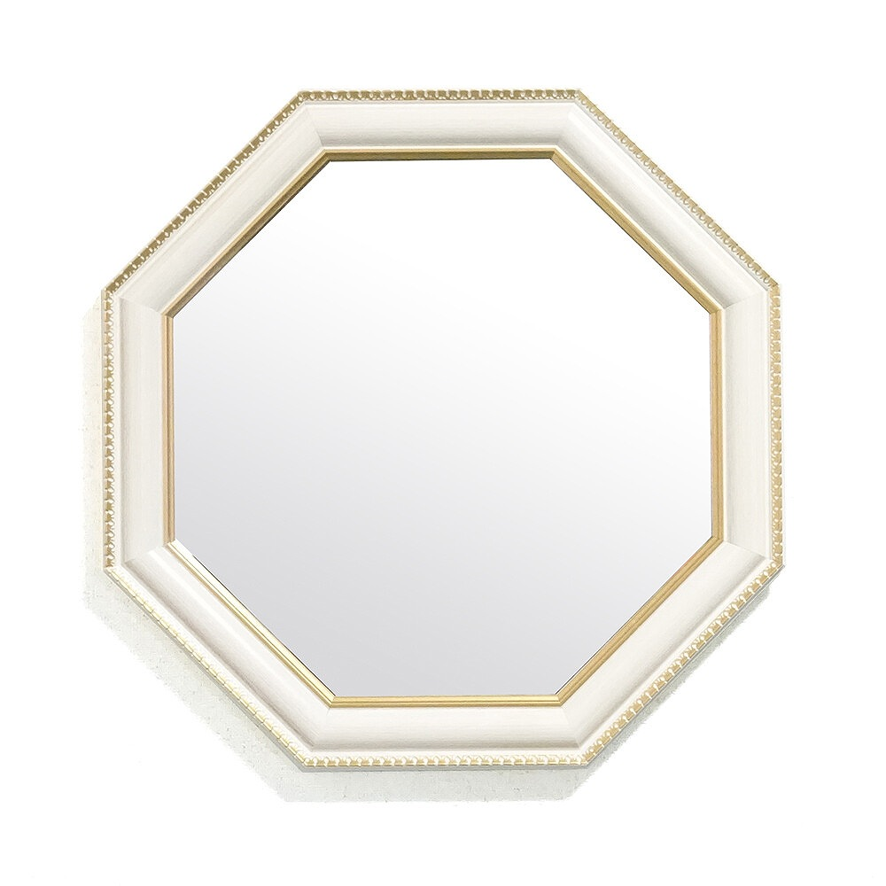 ITALY製 壁掛け 鏡 アイボリー ミラー フレーム 八角 ミラー 中 ベージュ クラシック