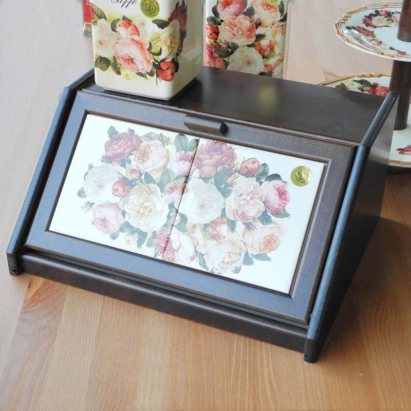 イタリア製 パンボックス キッチン収納 ローズ柄 ポーセラーツ 木製 スパイスラック ルドゥーテのバラ
