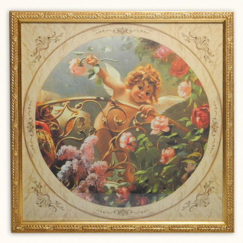 イタリア製 アートフレーム バルコニー エンジェル 額入り 天使 アートポスター スクエア 33cm 額絵