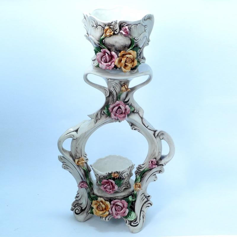 Made in ITALY ツインプランター付きコラム カポディモンテ 陶器 フラワースタンド