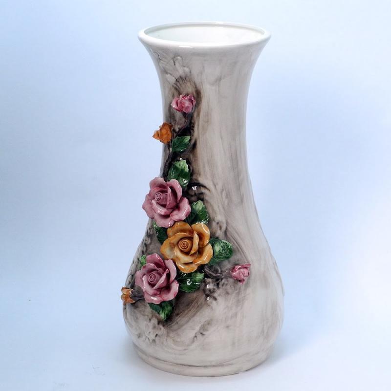 Made in ITALY バラ 花瓶 カポディモンテ ハンドメイド 陶器 飾り壺 フラワーベース 置物 高さ64cm