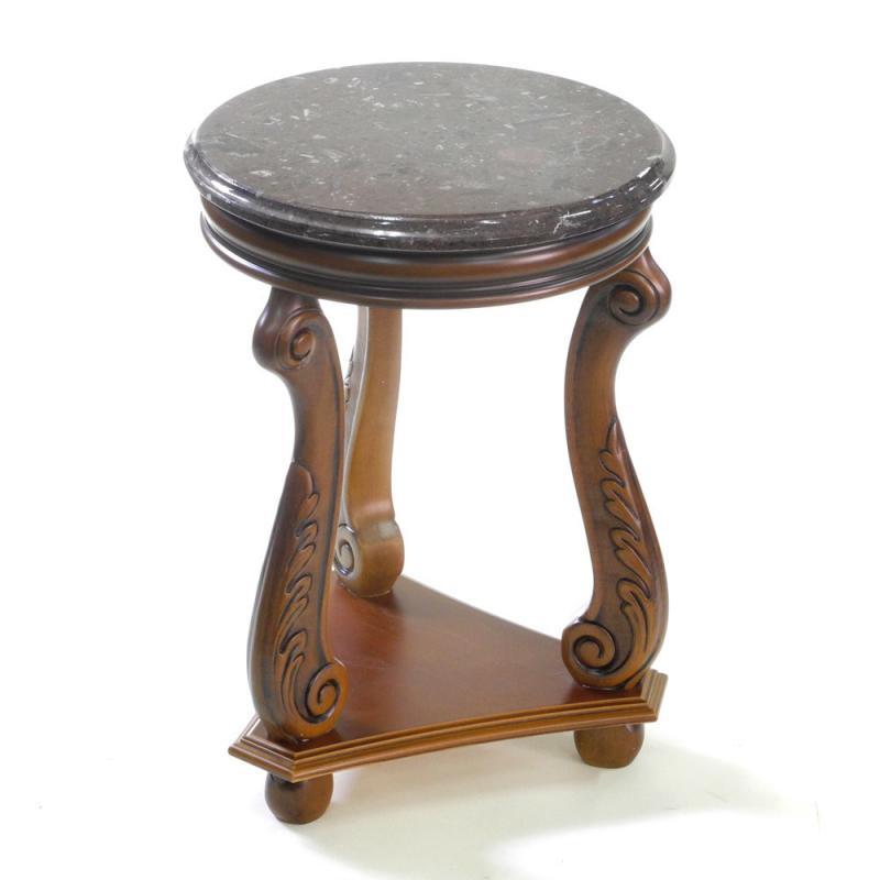 イタリア家具 猫脚 アンティーク調フラワーテーブル 大理石天板花台・ウォールナット ブラウンレッグ