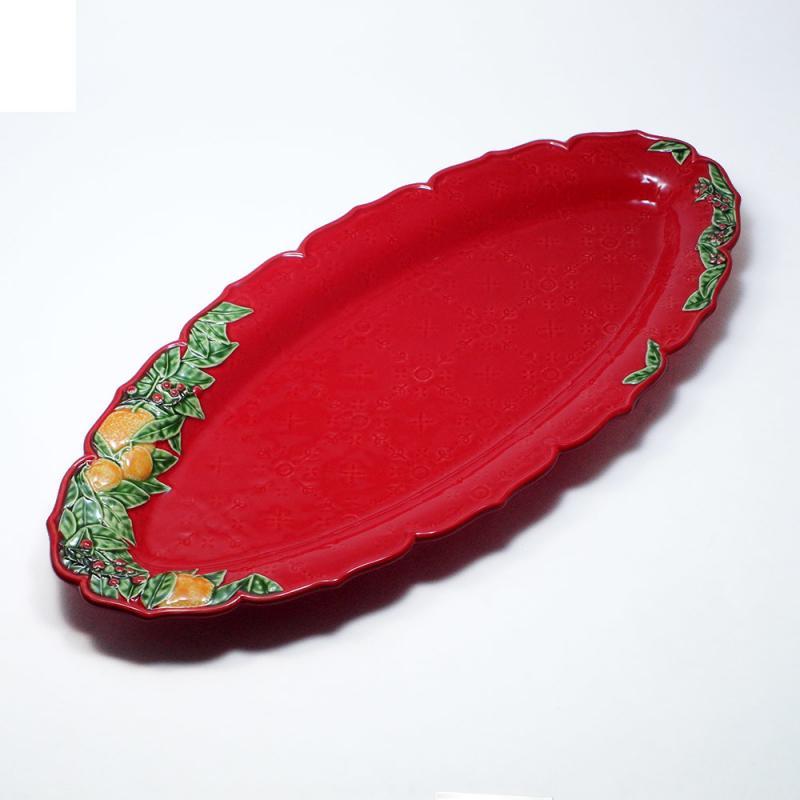 55cm クリスマス ガーランド 大皿 赤 長皿  ポルトガル製 リスボン 食器