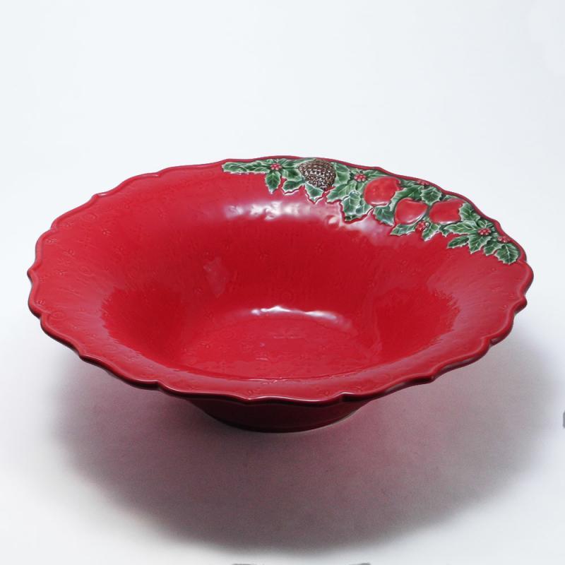 34cm クリスマス ガーランド ボウル 大鉢 赤 ポルトガル製 リスボン 食器