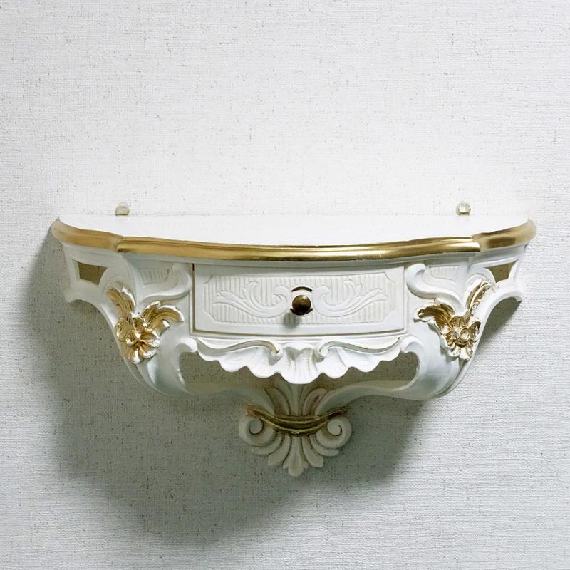 イタリア製 壁掛け コンソール アンティーク アイボリー ゴールド 引き出し付き