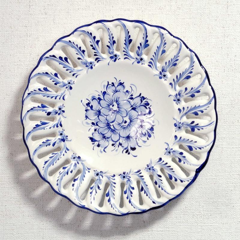 ポルトガル製 アルコバッサ 飾り皿 花柄 プレート ホワイト ハンドペイント 絵皿 30cm 壁掛け
