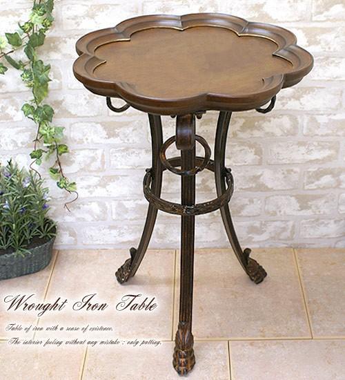 【送料無料】天板=円形花びら形 木製テーブル/アイアンフレーム机 木製天板/アンティーク風