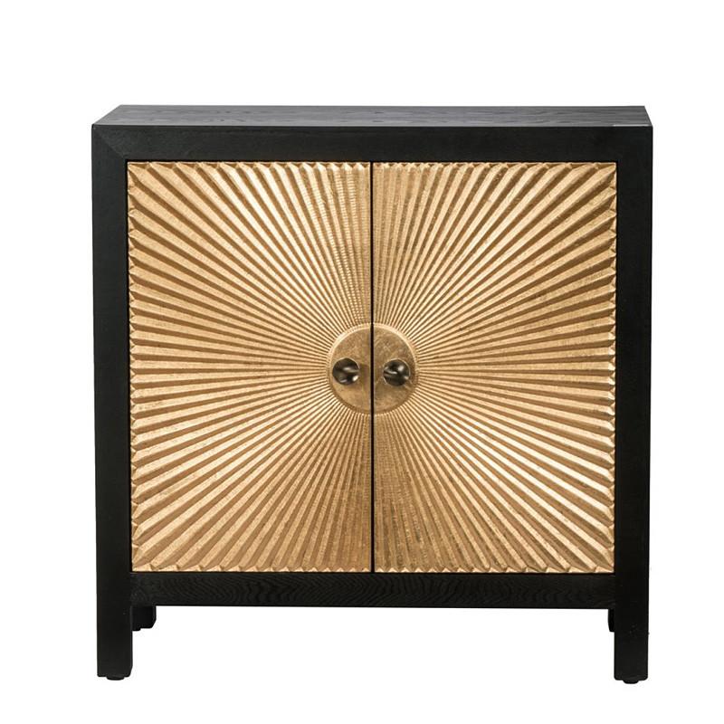 キャビネット ブラック ゴールド リビング収納 モダンデザイン 木製 お洒落