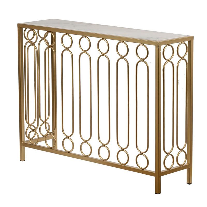 大理石のサイドテーブル 花台 飾り台 ゴールド マーブルトップ