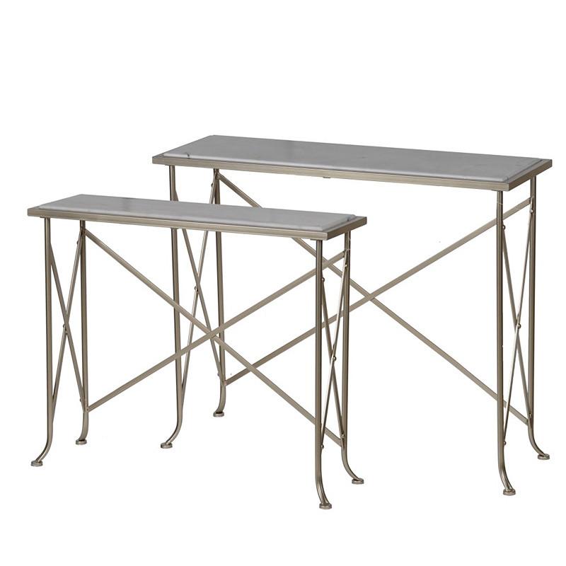 大理石 コンソールテーブル 2セット ネストテーブル アイアン 飾り台 ディスプレイ台 お洒落