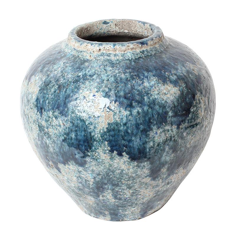 フラワーベース 花瓶 壺 陶器 お洒落 大型 大きい 青 ブルー
