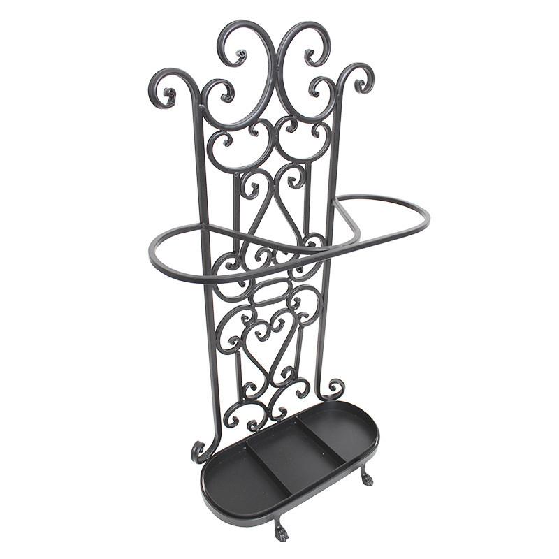 【送料無料】ブラックロートアイアン/壁際専用 傘たて/傘立て  アンブレラスタンド/豪華装飾/