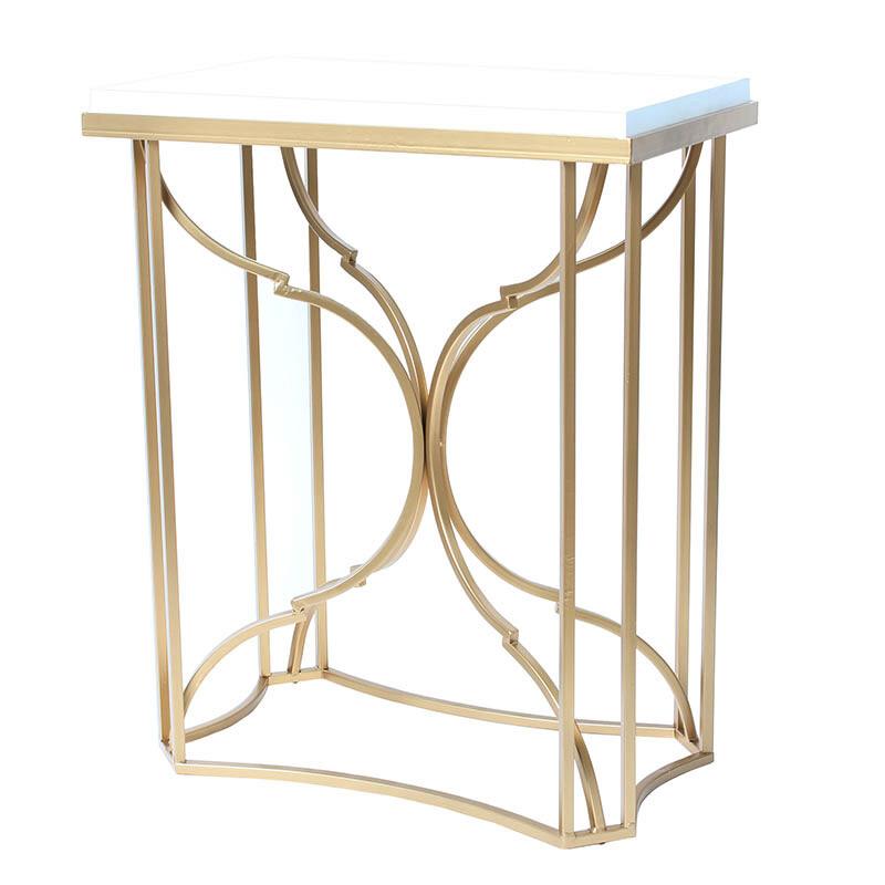 素敵なアイテムサイドテーブル ナイトテーブル ホワイトトップ アンティークゴールド おしゃれ