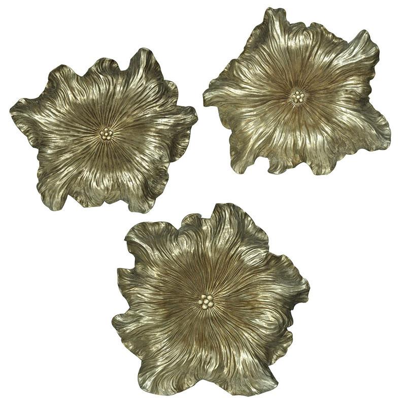 素敵なアイテム花のウォールオブジェ 3点セット シルバー ゴールド