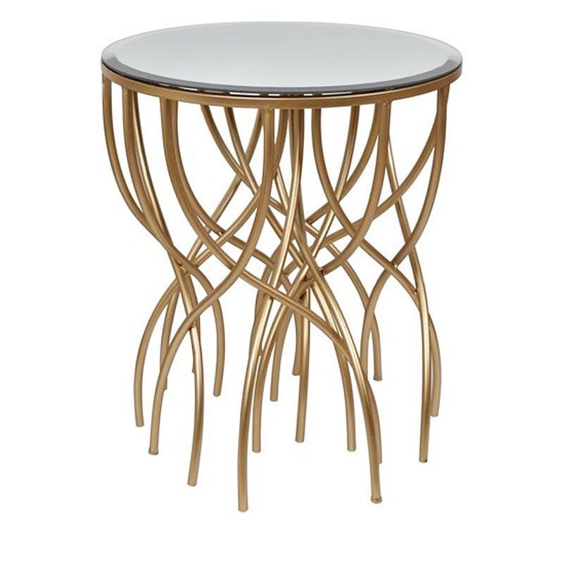 素敵なアイテムミラートップのサイドテーブル ゴールド