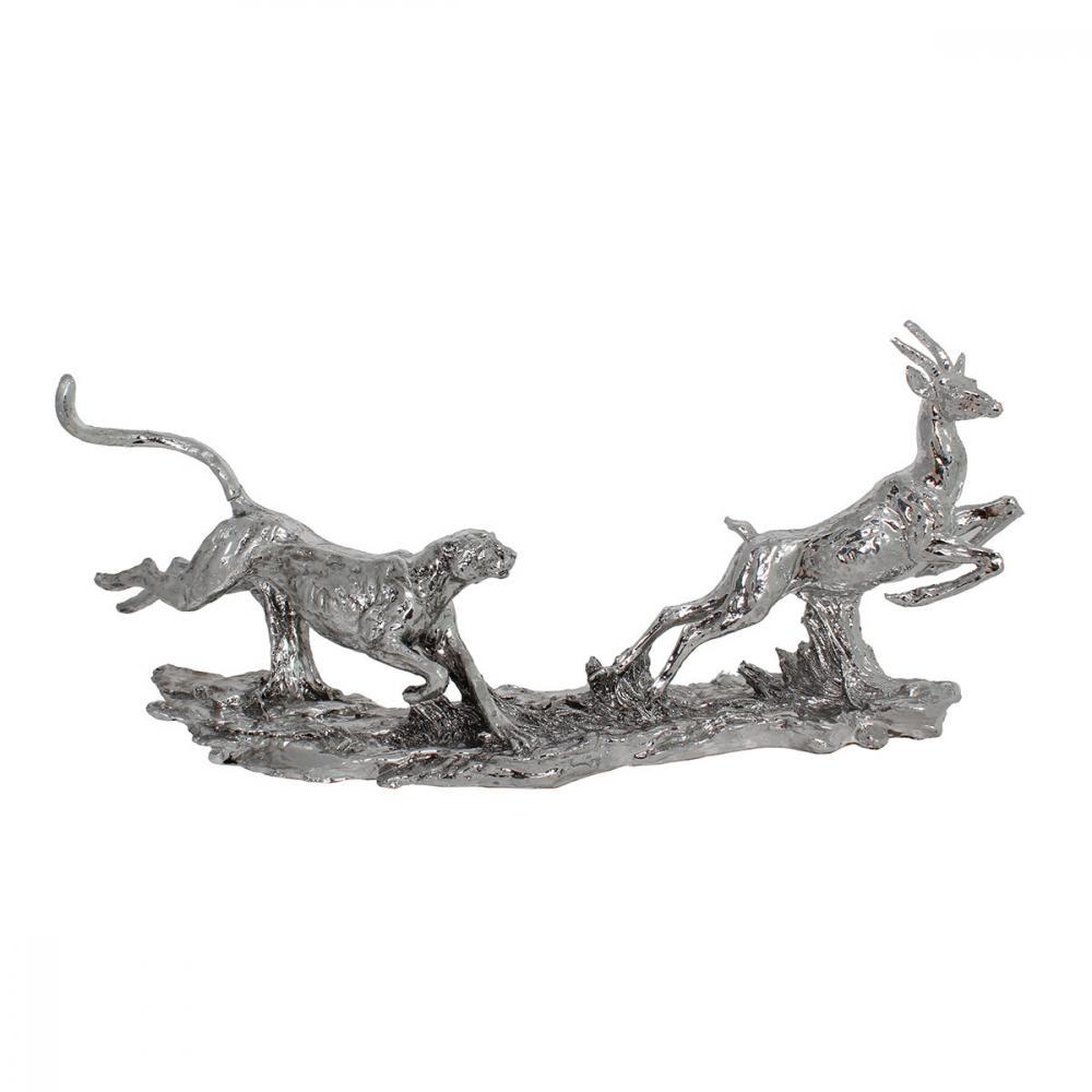 素敵なアイテム鹿を追うチーター シルバー 置物 オブジェ