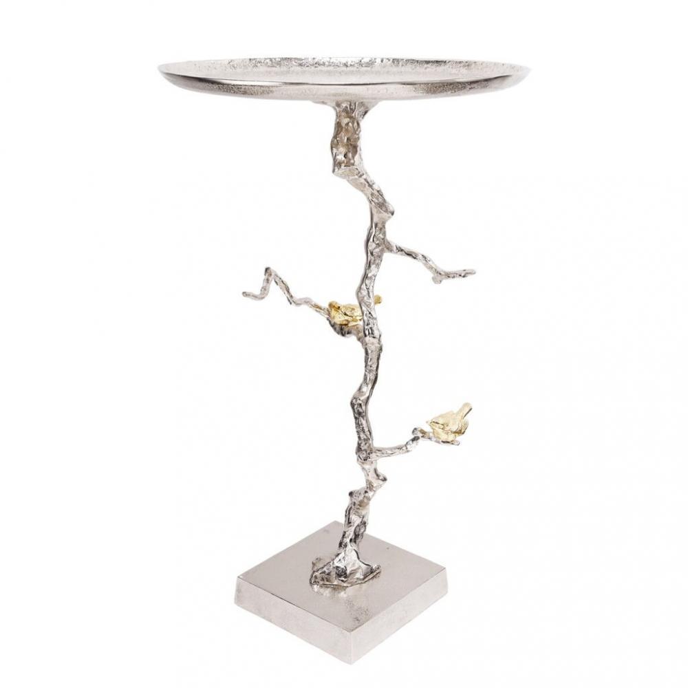 素敵なアイテム鳥枝のサイドテーブル シルバー