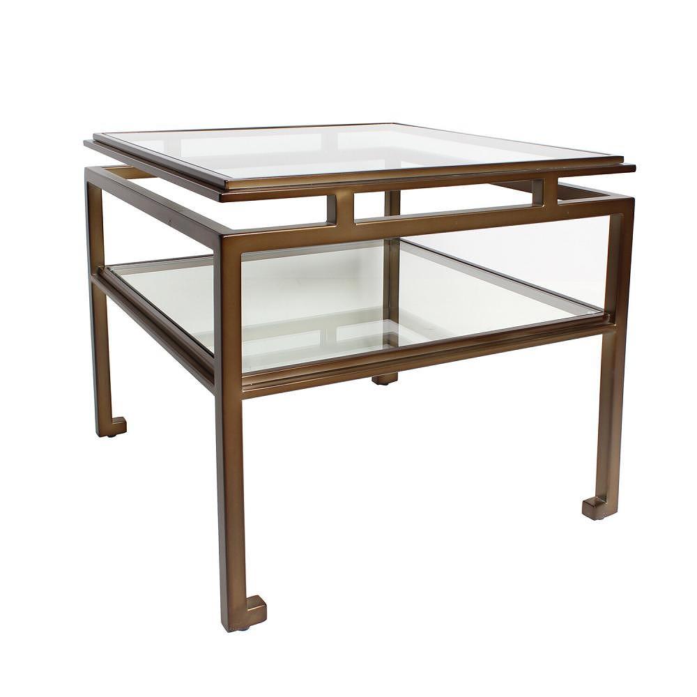 【素敵なアイテムです】アイアンとガラス天板のサイドテーブル ブロンズ色