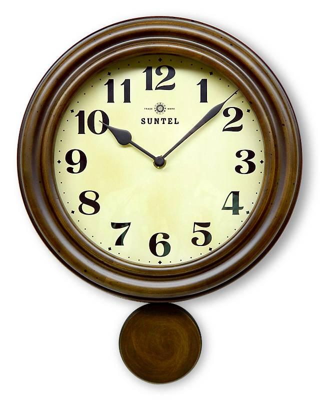 さんてる 電波振り子時計 電波時計 DQL669ステップ秒針/時計/電波時計/丸い壁掛け時計 丸形/レトロ/クラシック/職人の手作り【贈り物】