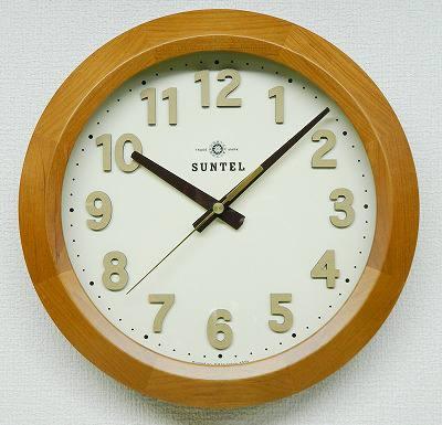 さんてる 壁掛け電波時計 DQL678 モダン 壁時計 壁掛け時計 お洒落 国産 ウォールクロック シンプル 立体文字 職人の手作り ヴィンテージ 天然木 日本製の時計 レトロ アンティーク 手づくり 轆轤 削り出し 職人 明るい色 木製 昔ながら ヨーロピアン クラシカル