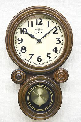 さんてる ミニだるま 電波振り子時計 DQL676/振子時計 柱時計 高級 壁掛け時計/国産 おしゃれ/ウォールクロック/レトロ アンティーク/職人の手作り/ヴィンテージ/電波時計/日本製のお洒落な壁時計/小さめ/分厚い 重厚感 /