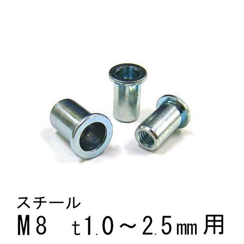 エビナット スチール Dタイプ M8 500個 NSD825M エビ