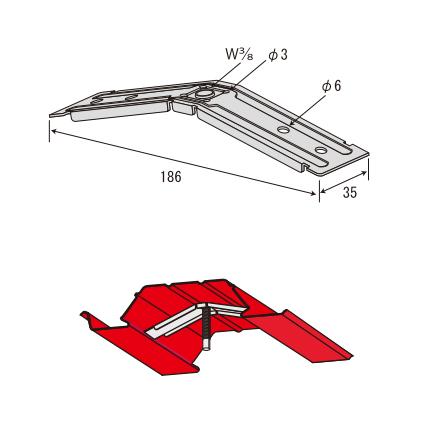 赤とんぼ JFE QLデッキ用 吊元金具 3分用 サワタ 200個入