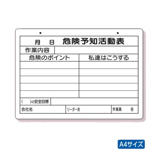 危険予知活動表 商店 ユニット PP加工ボード A4 320-161 横 ファクトリーアウトレット