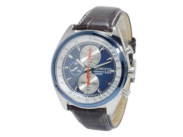 精工精工石英男装计时手表 SNDF95P1 金属蓝 & 银色白色 x 布朗