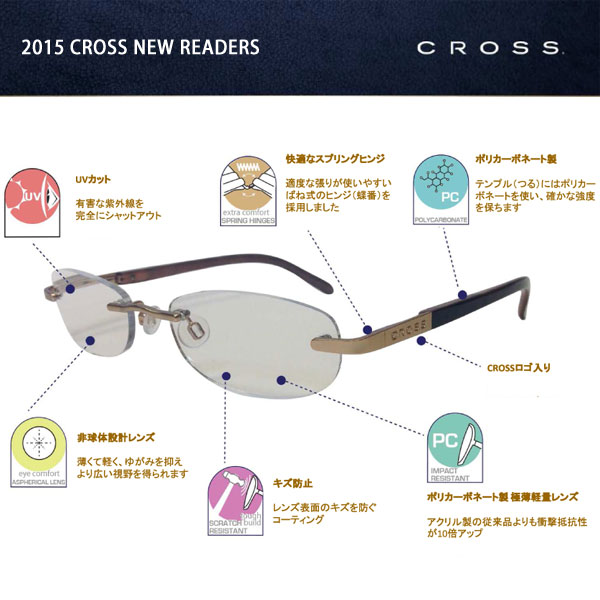 CROSS reading glasses (reading glasses) leaders Stephanie (+2.00 degrees) RD0140-1E