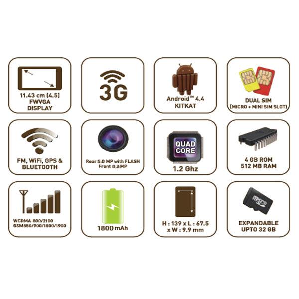 COBY sim 卡免费 4.5 英寸双 sim 卡智能手机白色 CBP G 45-W(sb)