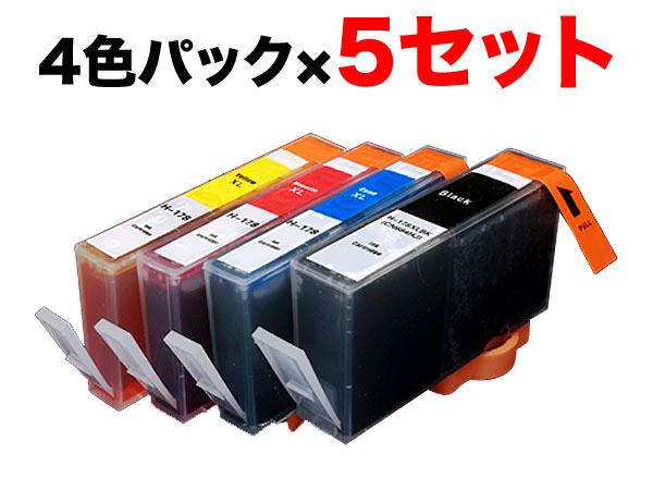 HP178XL互換インク増量4色×5セット 顔料BK採用 Deskjet 3070A Deskjet 3520 Officejet 4620 Officejet J4620 Photosmart 5510【メール便不可】【残量表示対応】【新機種対応】【送料無料】 4色×5セット(CMYKスリム増量)【あす楽対応】