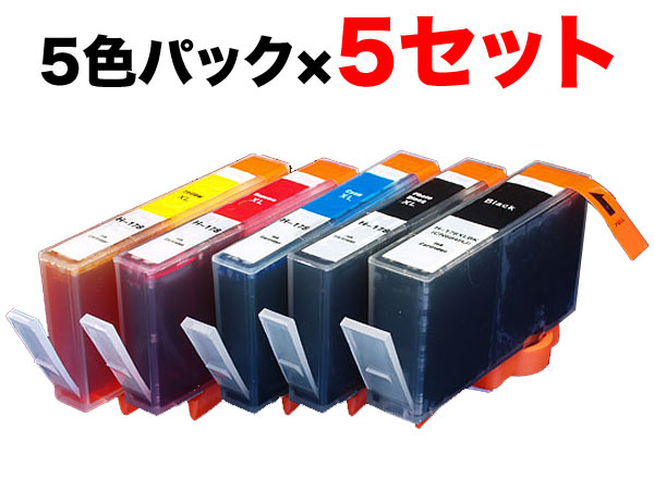 HP178XL互換インク増量5色×5セット 顔料BK採用 Photosmart C5380 Photosmart C6380 Photosmart D5460 Photosmart Premium C309G【メール便不可】【残量表示対応】【新機種対応】【送料無料】 5色×5セット(CMYKスリム増量)【あす楽対応】