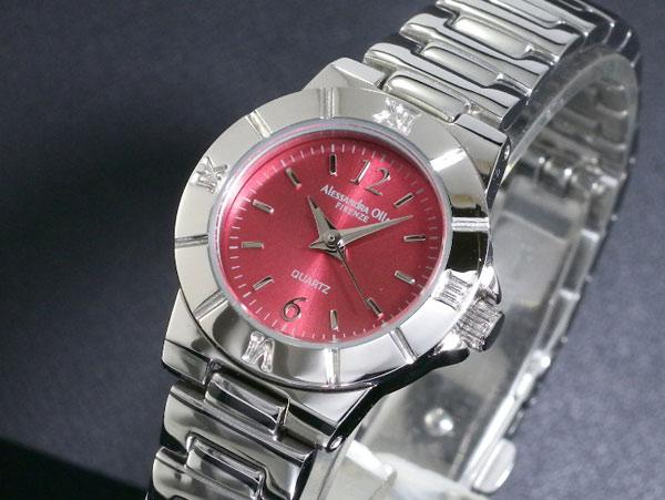 咦,桑德拉气氛ALESSANDRA OLLA手表AO-915-RE红×银子