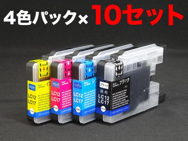 LC17-N-4PK ブラザー用 LC17 互換インク 増量 4色×10セット ブラック顔料 増量4色×10(増量顔料BK)