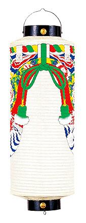 【提灯】【盆提灯 盆ちょうちん】 祭礼提灯 「八寸 切長 (紙張 牡丹幕付)」 ●岐阜提灯 お盆 新盆 初盆 ちょうちん