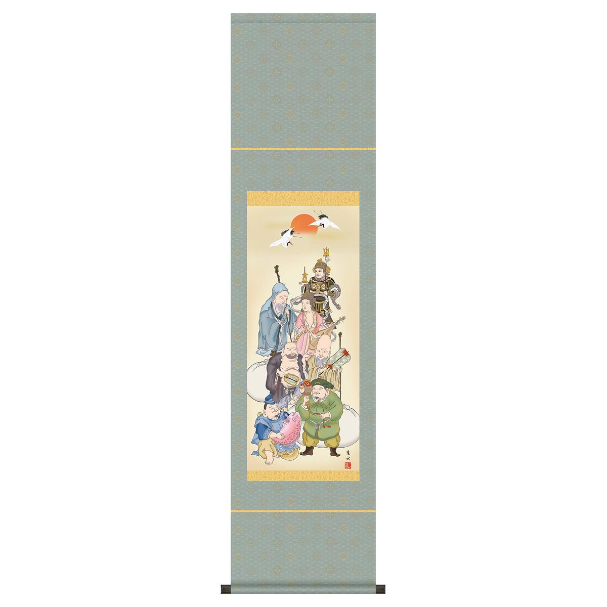 節句 正月 掛け軸 「緒方葉水(清瀧会)作 七福神 掛け軸」2019年雛人形 ●正月飾り