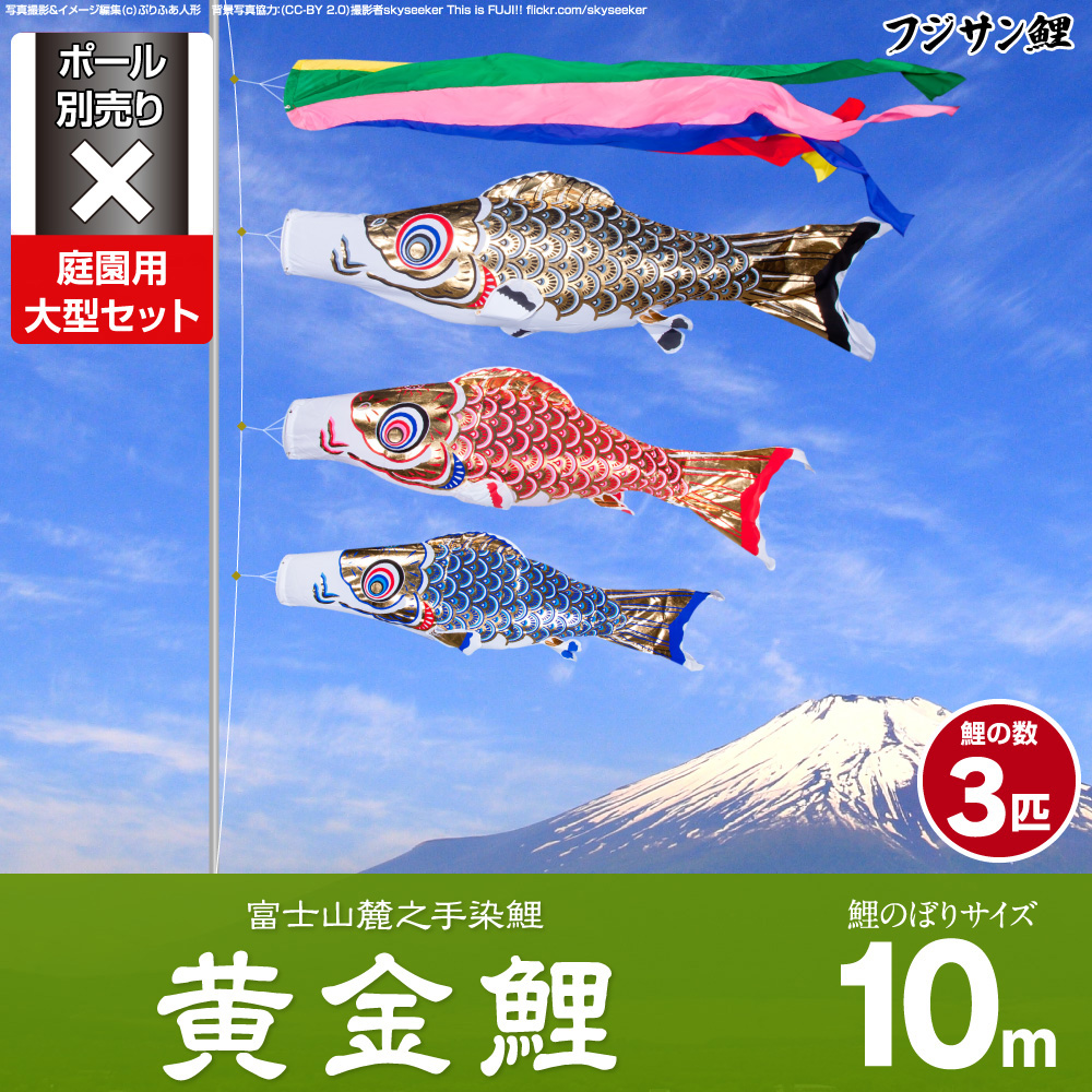 【庭園用 こいのぼり】 鯉のぼり フジサン鯉 黄金鯉 10m 6点セット(吹流し+鯉3匹+矢車+ロープ) 庭園 大型セット 【ポール 別売】