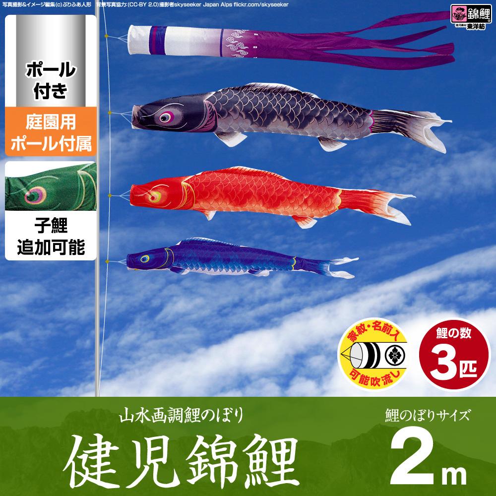 【庭園用 こいのぼり】 鯉のぼり 錦鯉 山水画を思わせる端麗な色調 健児錦鯉 2m 6点セット(吹流し+鯉3匹+矢車+ロープ) 庭園 ポール付属 ガーデンセット