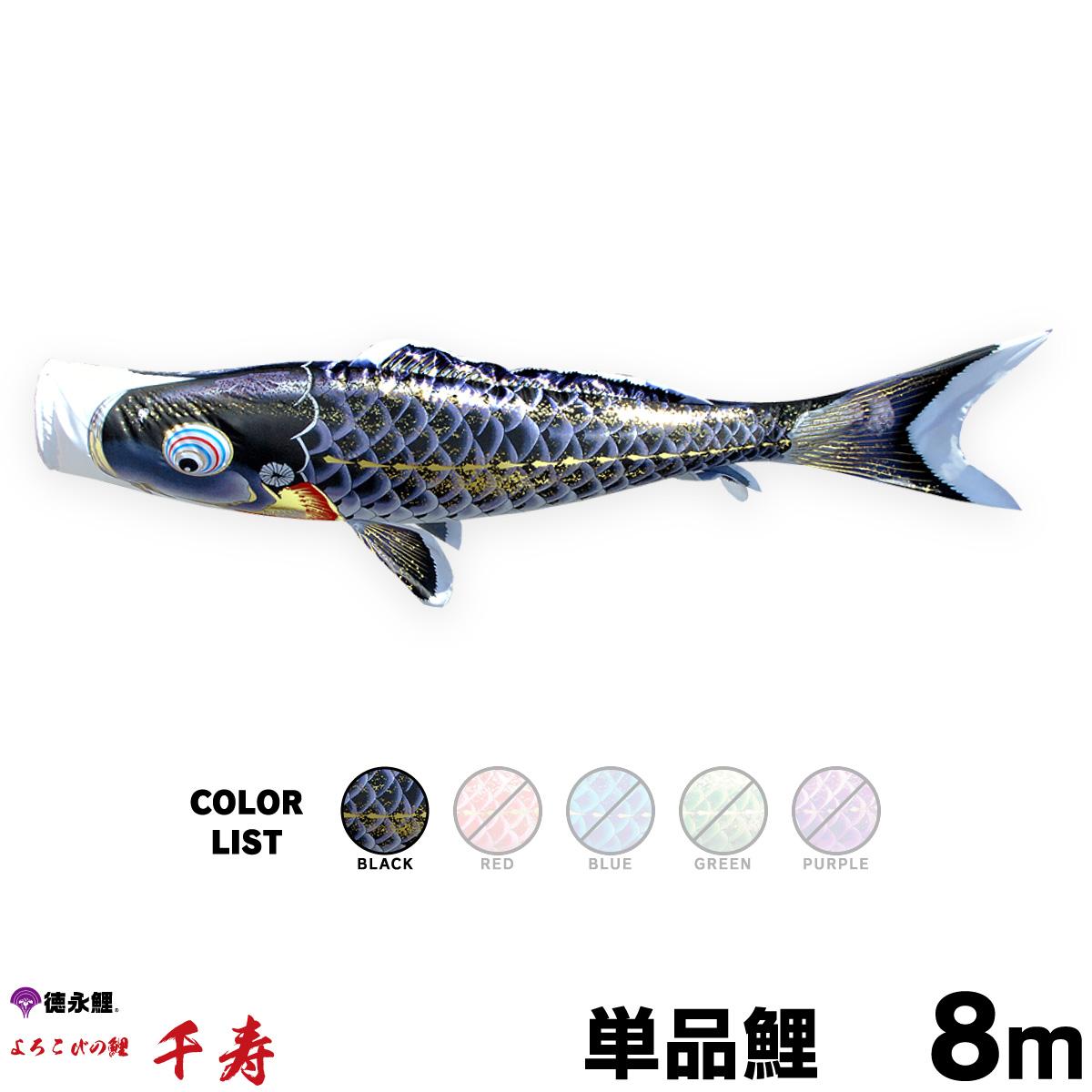 【こいのぼり 単品】 千寿 8m 単品鯉 黒