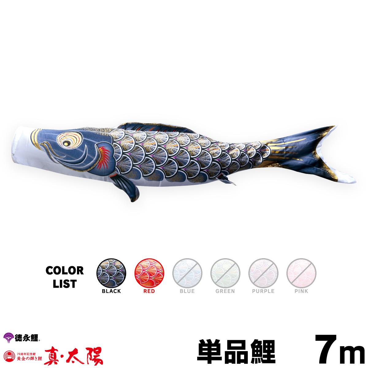 人気ブランドを こいのぼり 単品 7m 鯉のぼり 真・太陽鯉 赤 7m 単品鯉 黒 単品鯉 赤, レザークラフト一革:486aa222 --- beautyflurry.com